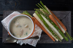 Spring season - white and green asparagus soup, ready to eat ser Royalty Free Stock Photo