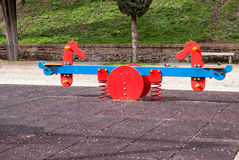 Spring see saw. In the park Royalty Free Stock Photography