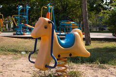 Spring See Saw in the park  rocking  Horse Royalty Free Stock Photos