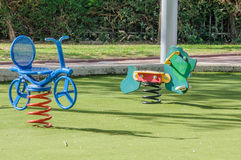 Spring seesaws in the playground Stock Photos