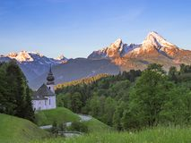 Spring serene scenery with Watzmann mount and Maria Gern church Royalty Free Stock Photography