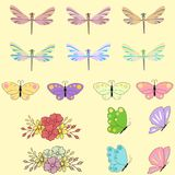 Spring set for design of multicolored butterflies, dragonflies and flowers.Can be used for wedding, baby shower, mothers. Spring set for design of multicolored Royalty Free Stock Photos
