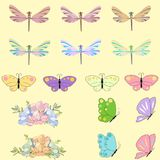 Spring set for design of multicolored butterflies, dragonflies and flowers.Can be used for wedding, baby shower, mothers. Spring set for design of multicolored Royalty Free Stock Photography