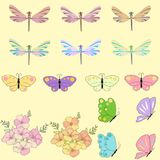 Spring set for design of multicolored butterflies, dragonflies and flowers.Can be used for wedding, baby shower, mothers. Spring set for design of multicolored Stock Images