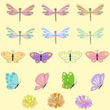 Spring set for design of multicolored butterflies, dragonflies and flowers.Can be used for wedding, baby shower, mothers. Spring set for design of multicolored Stock Image