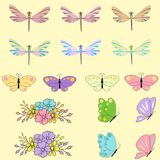 Spring set for design of multicolored butterflies, dragonflies and flowers.Can be used for wedding, baby shower, mothers. Spring set for design of multicolored Stock Photo