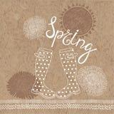 Spring  set. Hand-drawn   illustration on kraft paper back Royalty Free Stock Images
