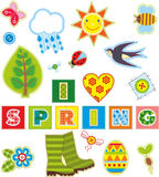 Spring Set Textile Element Stock Images