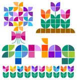 Mosaic Spring Set/eps. The title heading Spring in an original alphabet, and illustrations of spring icons including a bouquet of flowers, tulips and a tulip Royalty Free Stock Photos