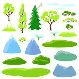 Spring set of trees, mountains and hills. Seasonal collection Stock Photos