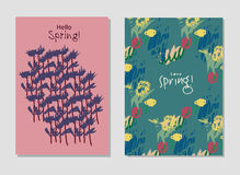 Spring set universal floral cards and text signs. Royalty Free Stock Photography