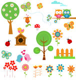 Spring Set. Vector collection of retro spring elements for your designs Royalty Free Stock Photography