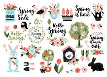 Spring set vector illustration. Stock Illustration
