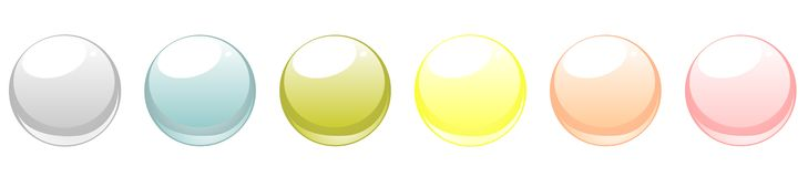 Spring set of vector web buttons. A collection of blank glowing web buttons in six colours. Vector isolated on white background royalty free illustration