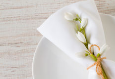 Spring setting table with plate and napkin, close up Stock Images