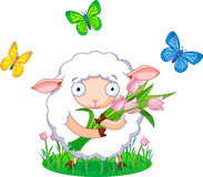 Spring sheep. Cute white sheep holding tulip bouquet Royalty Free Stock Photo
