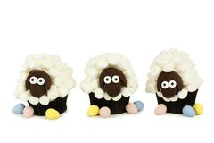 Spring sheep cupcakes over white Stock Photography