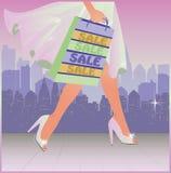 Spring shopping girl in city Stock Photos