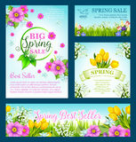 Spring shopping sale vector flowers. Big Spring Sale vector posters and banners with springtime flowers for spring holiday discount promo offer. Floral design of Stock Image