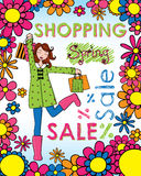 Spring Shopping Woman Royalty Free Stock Photography