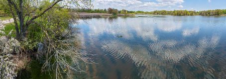 Spring Shoreline Panorama. A scenic Spring panoramic view of the John Heinz National Wildlife Refuge in Eastern Pennsylvania Stock Images