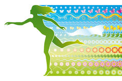 Spring. A silhouette of a girl as a symbol of spring stock illustration