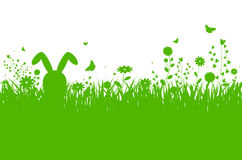Spring silhouette illustration with abstract grass, flowers and Royalty Free Stock Photo