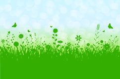 Spring silhouette illustration with abstract grass, flowers and Royalty Free Stock Images