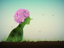 Spring silhouette, profile of woman look like bouquet of pink flowers growing on soil, Royalty Free Stock Image