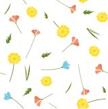 Spring simple flowers seamless pattern. Spring and summer simple vector flowers seamless pattern Stock Photography