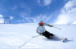 Spring skiing in Austria 2. Skier on the slopes of Solden, Austrian Alps Stock Image