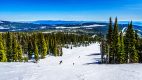 Spring Skiing at Sun Peaks. In the Shuswap Highlands of central British Columbia, Canada stock images
