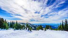 Spring Skiing at Sun Peaks in the Shuswap Highlands. Of central British Columbia, Canada royalty free stock photos
