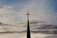 Spring sky cross. A cross stands high in the spring sky Royalty Free Stock Images