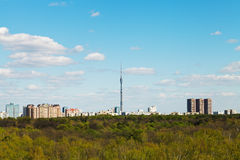 Spring skyline with TV tower in Moscow Royalty Free Stock Images