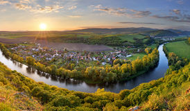 Spring Slovakia panorama landscape with river Hron Stock Image
