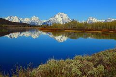 Oxbow Bend of the Snake River with Teton Range Reflection, Grand Teton National Park, Wyoming royalty free stock photo