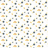 Spring small wild flower field seamless pattern. Floral blue and mustard fine summer vector pattern on white background. For fabric textile prints and apparel Stock Photo