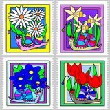 Spring snail stamps Stock Photo