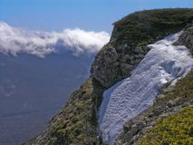 Spring snow. In the Crimean mountains Royalty Free Stock Images