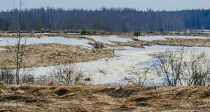 The first spring thawed patches. Spring, snow gradually descends from the fields, begins to murmur the water in the river Stock Photo