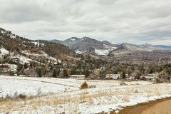 Spring Snow Storm in Chautauqua Park stock photography