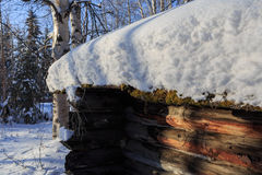 Spring, snow and wooden house Stock Image
