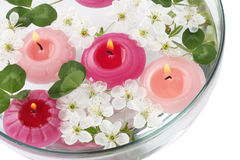 Spring SPA composition: candles and flowers Royalty Free Stock Photography