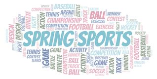 Spring Sports word cloud. Wordcloud made with text only royalty free illustration