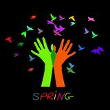 Hands releasing a flock of birds. Spring. Spring. Spring Wallpapers spring day spring design vector spring Stock Photography