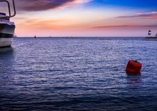 Spring Sprung at Navy Pier. Sunset light over LAke Michigan - viewed from Navy Pier, Chicago Stock Photos