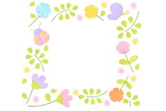 Spring square frame paper cut on white background. Isolated royalty free illustration