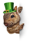 Spring Squirrel Banner. Concept as cute happy wildlife wearing a lucky green saint patricks day hat with four leaf clovers holding a blank sign as a festive Royalty Free Stock Photography