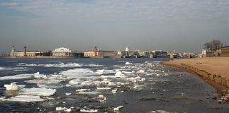 Spring in St Petersburg. Spring view of St Petersburg and Neva river Royalty Free Stock Photo